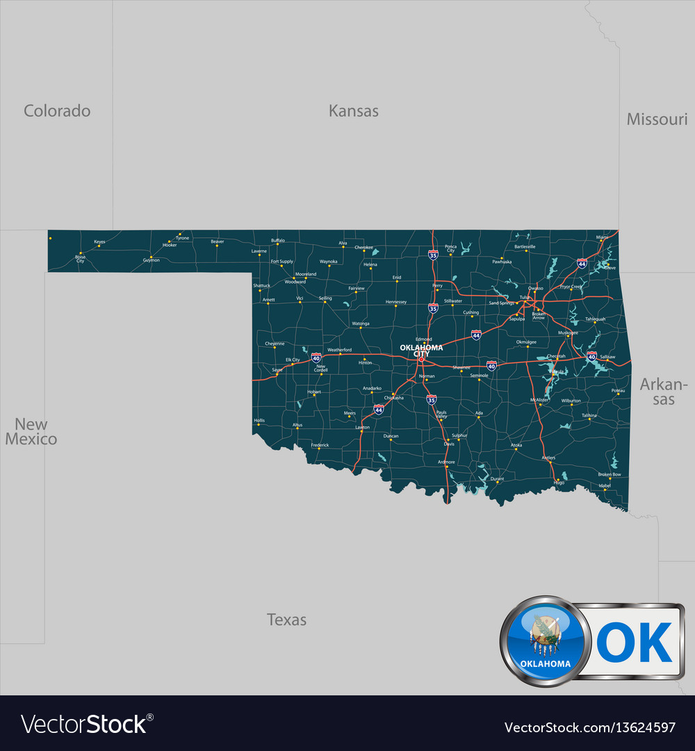 State Map Of Kansas And Oklahoma.Map Of State Oklahoma Usa Royalty Free Vector Image