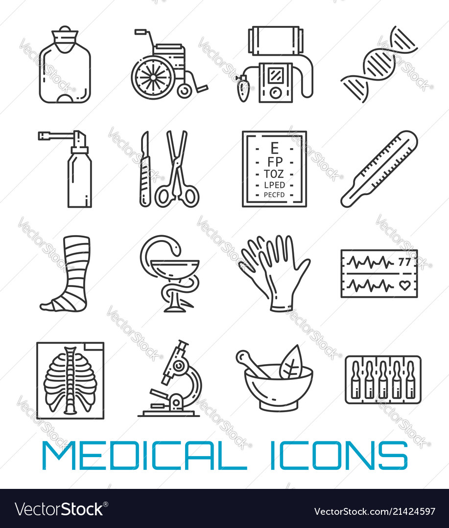 Medicine healthcare and pharmacy thin line icons