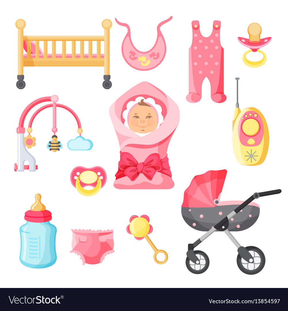 6ae1efbe9 Newborn girl things poster with white Royalty Free Vector