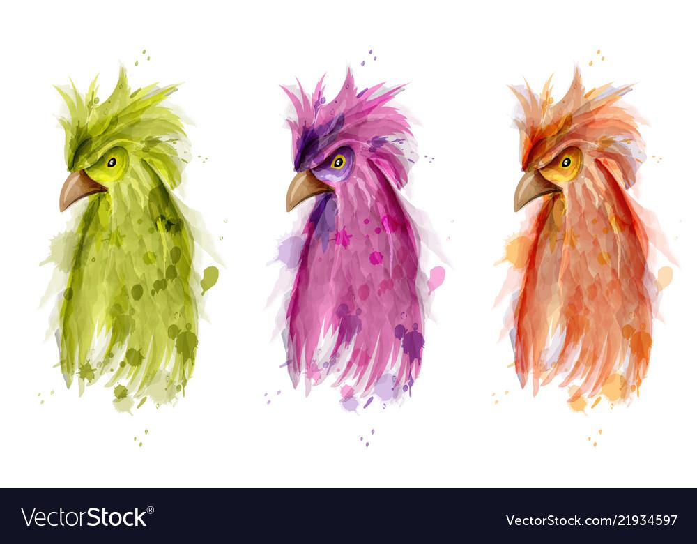 Parrot bird watercolor painted cartoon