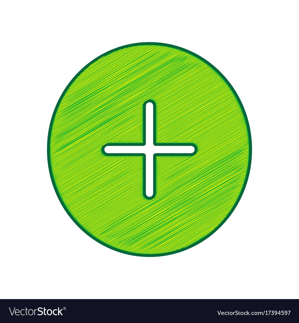 Positive Symbol Plus Sign Lemon Scribble Vector Image