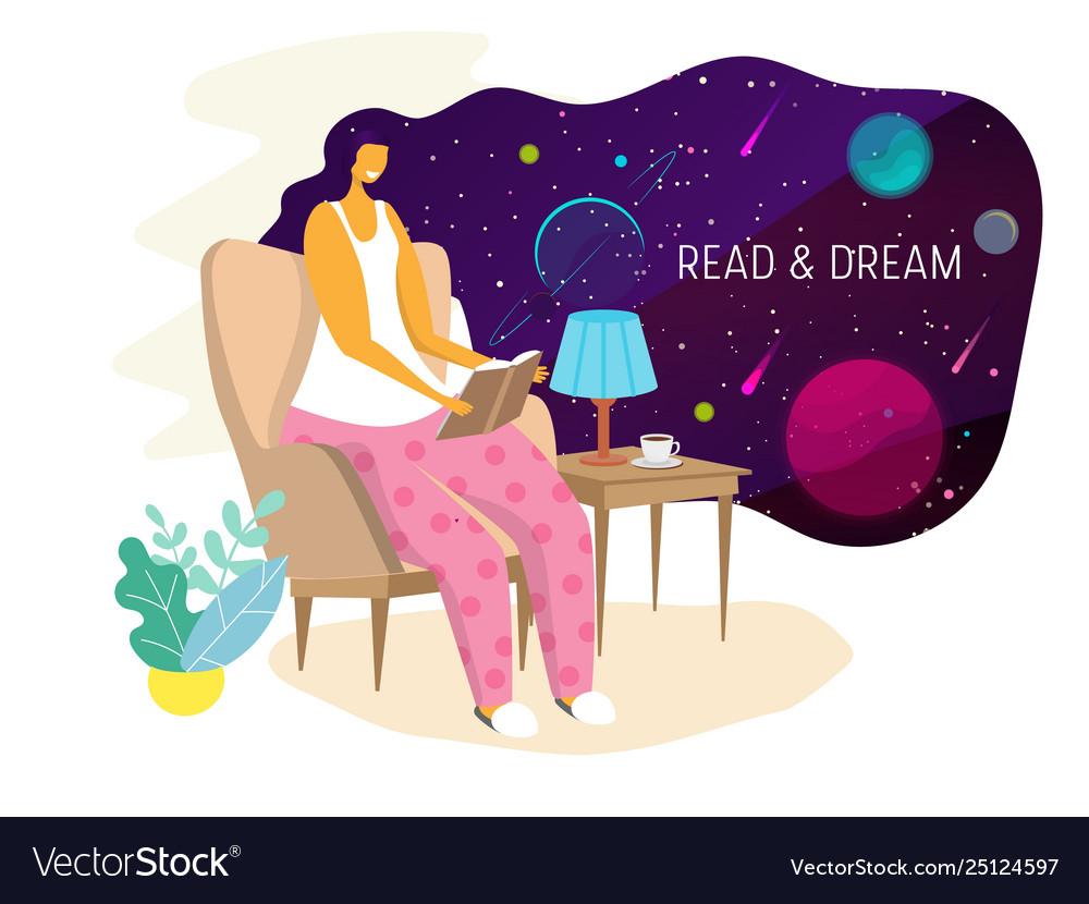 Reading woman flat style design