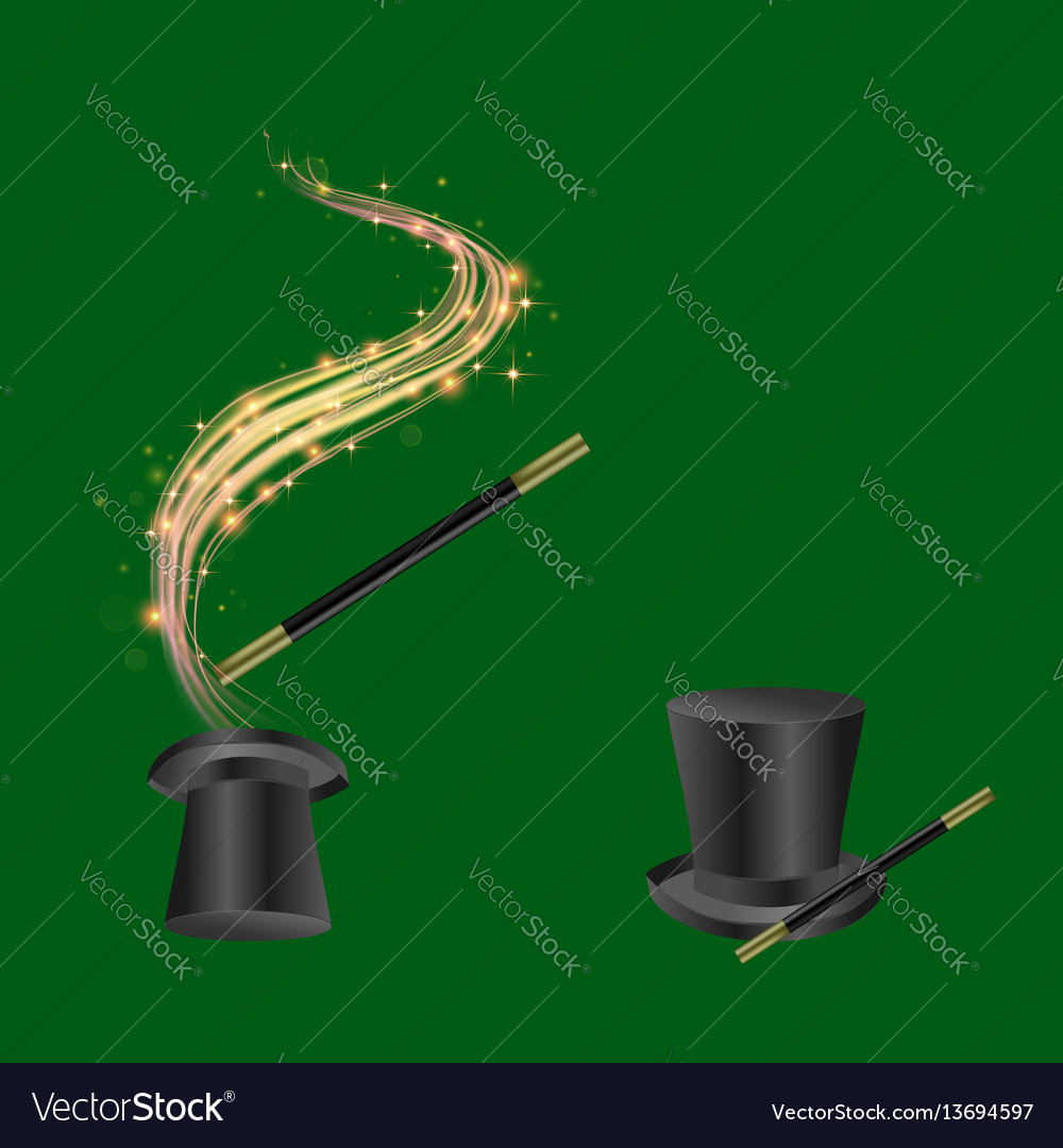 Realistic magic wand and hat