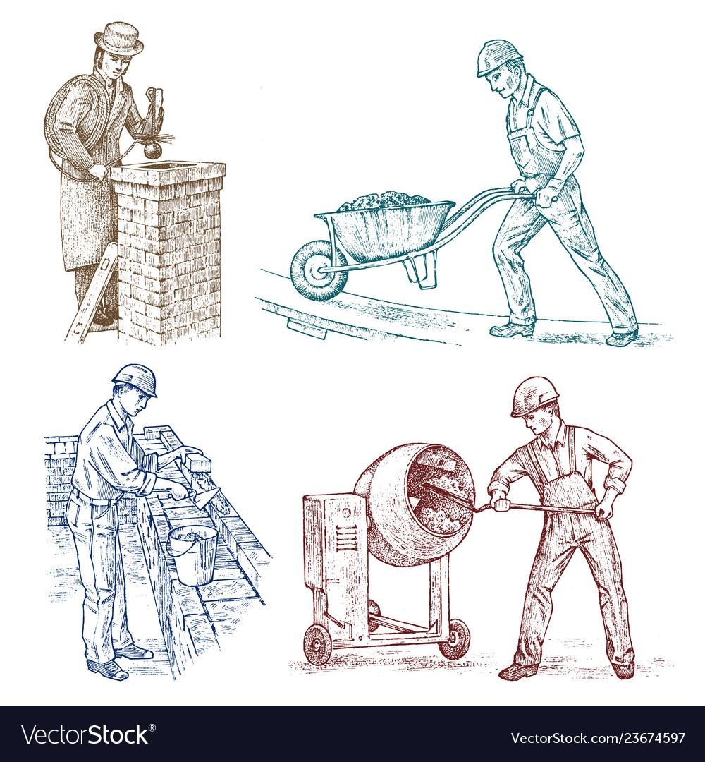 Set of builders technicians or cement engineers