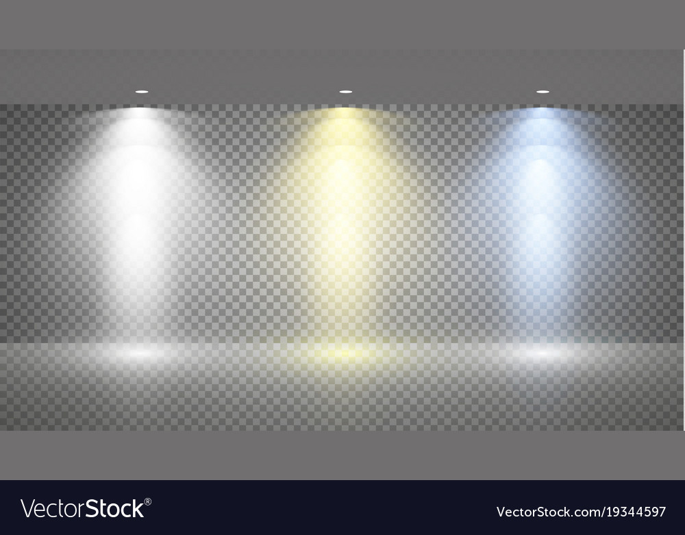 Set of colored searchlights on a transparent