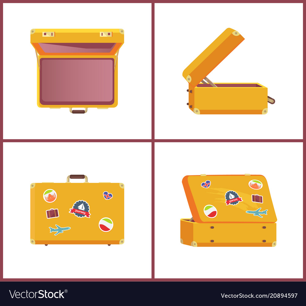 Set of retro suitcases different angles memories vector image