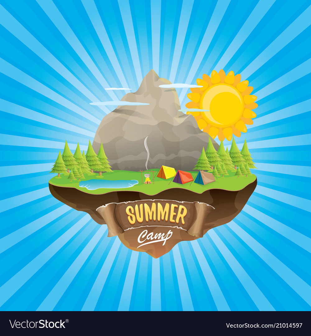 Summer camp kids logo concept with