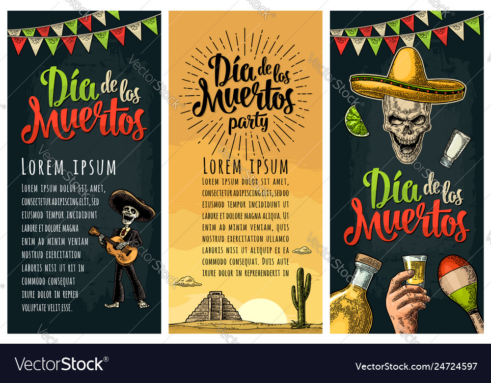 Three vertical poster for dia de los muertos vector