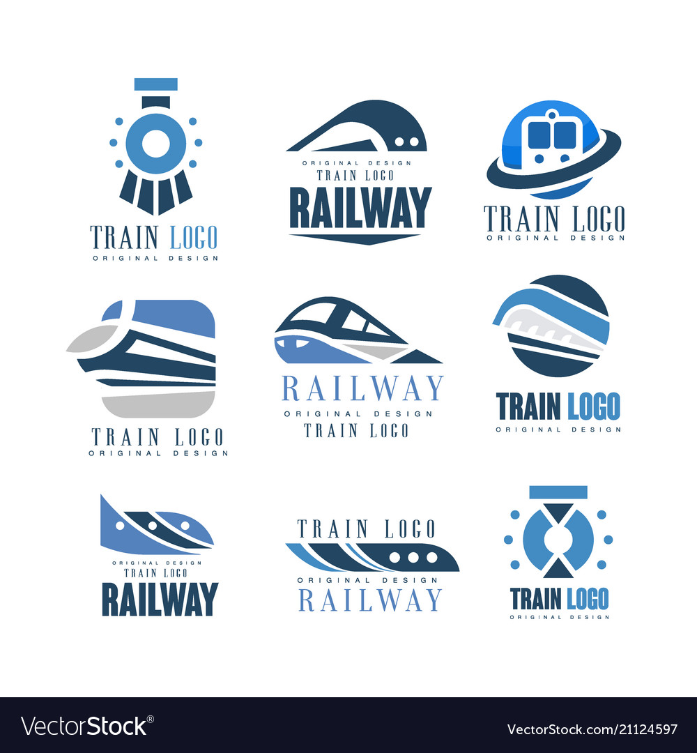 Train logo original design set modern railway