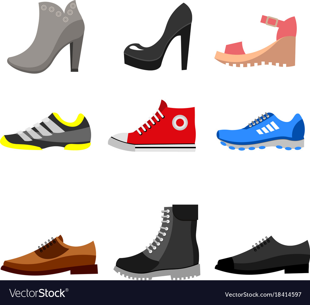 Types of shoes icons set