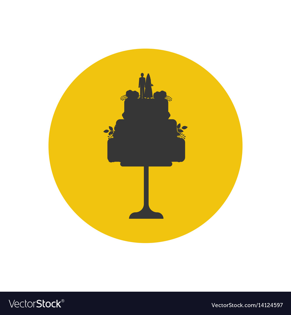 Wedding cake silhouette Royalty Free Vector Image
