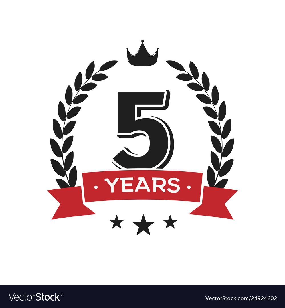 5 th birthday vintage logo template fifth years