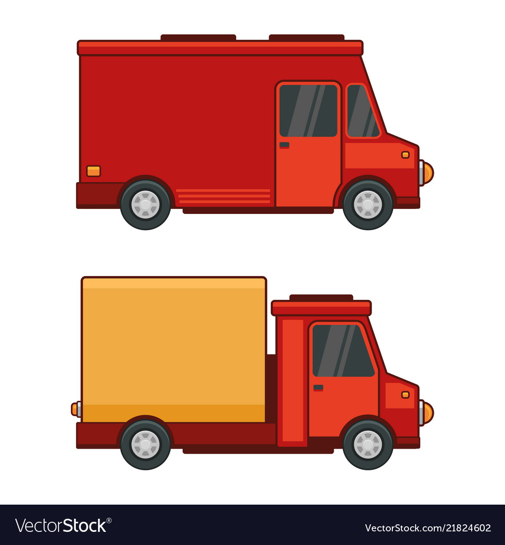 Delivery cargo car set on white background