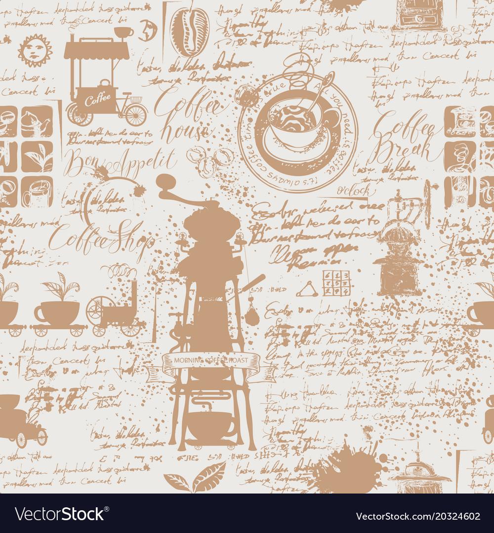 Grunge seamless background on coffee theme