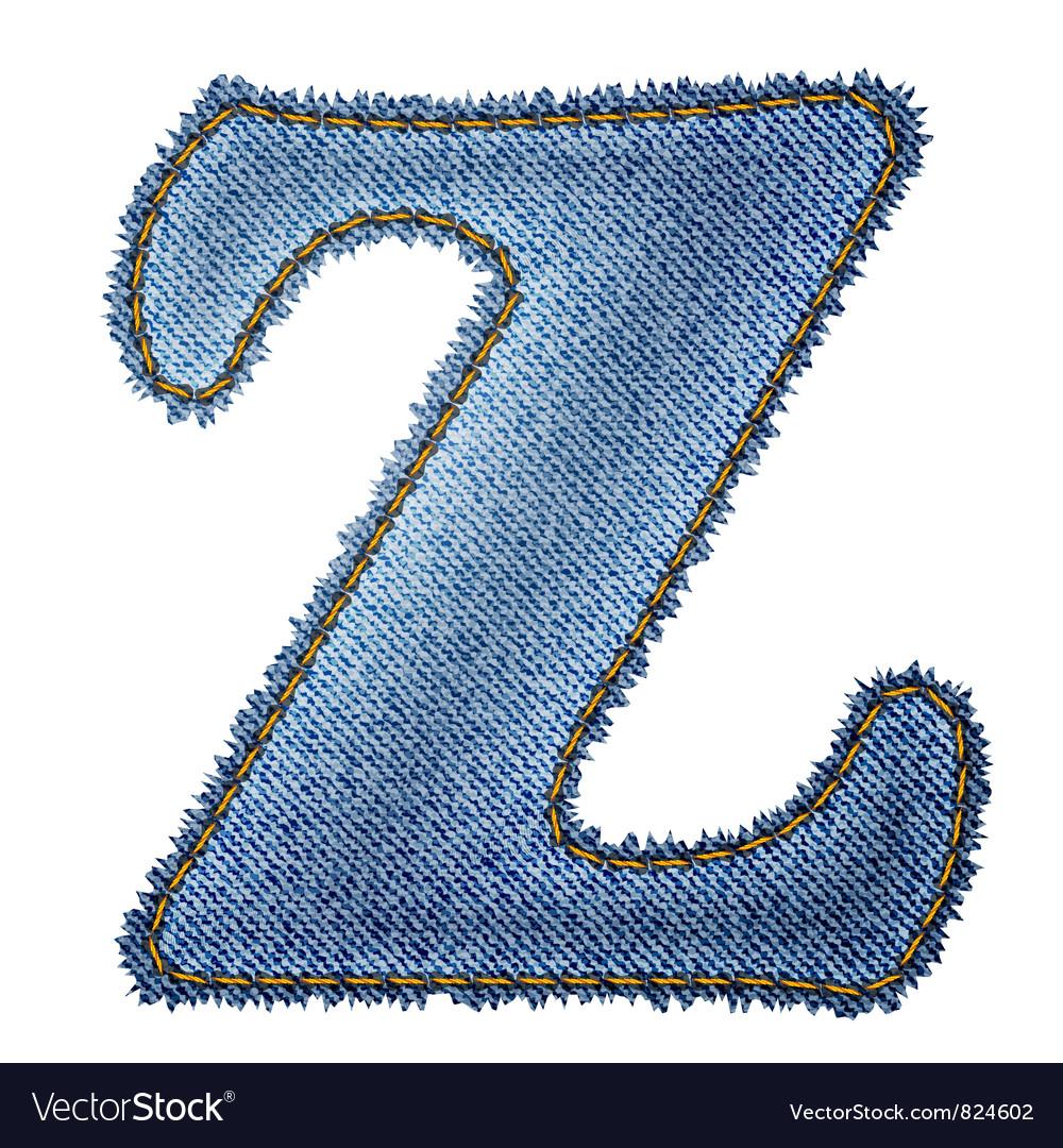 Jeans alphabet Denim letter Z