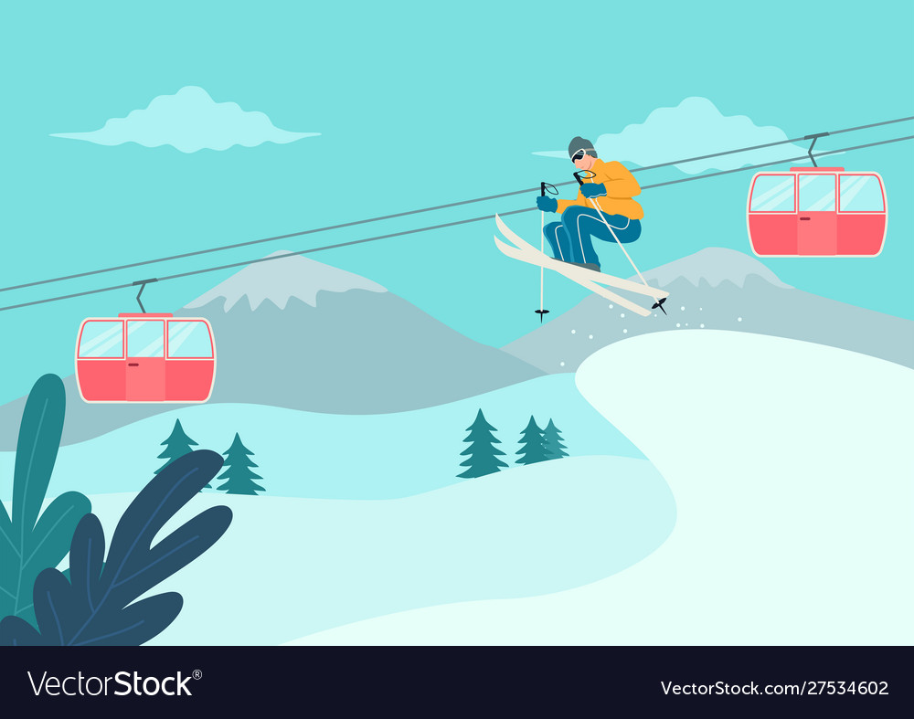 Man skiing on snowy mountain