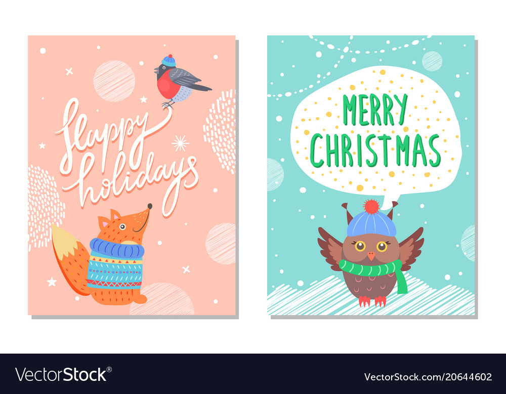 Merry christmas greeting cards squirrel and owl vector image m4hsunfo