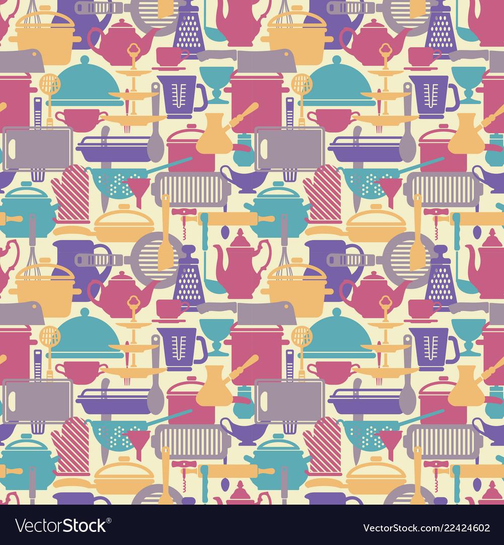 Seamless pattern kitchen background