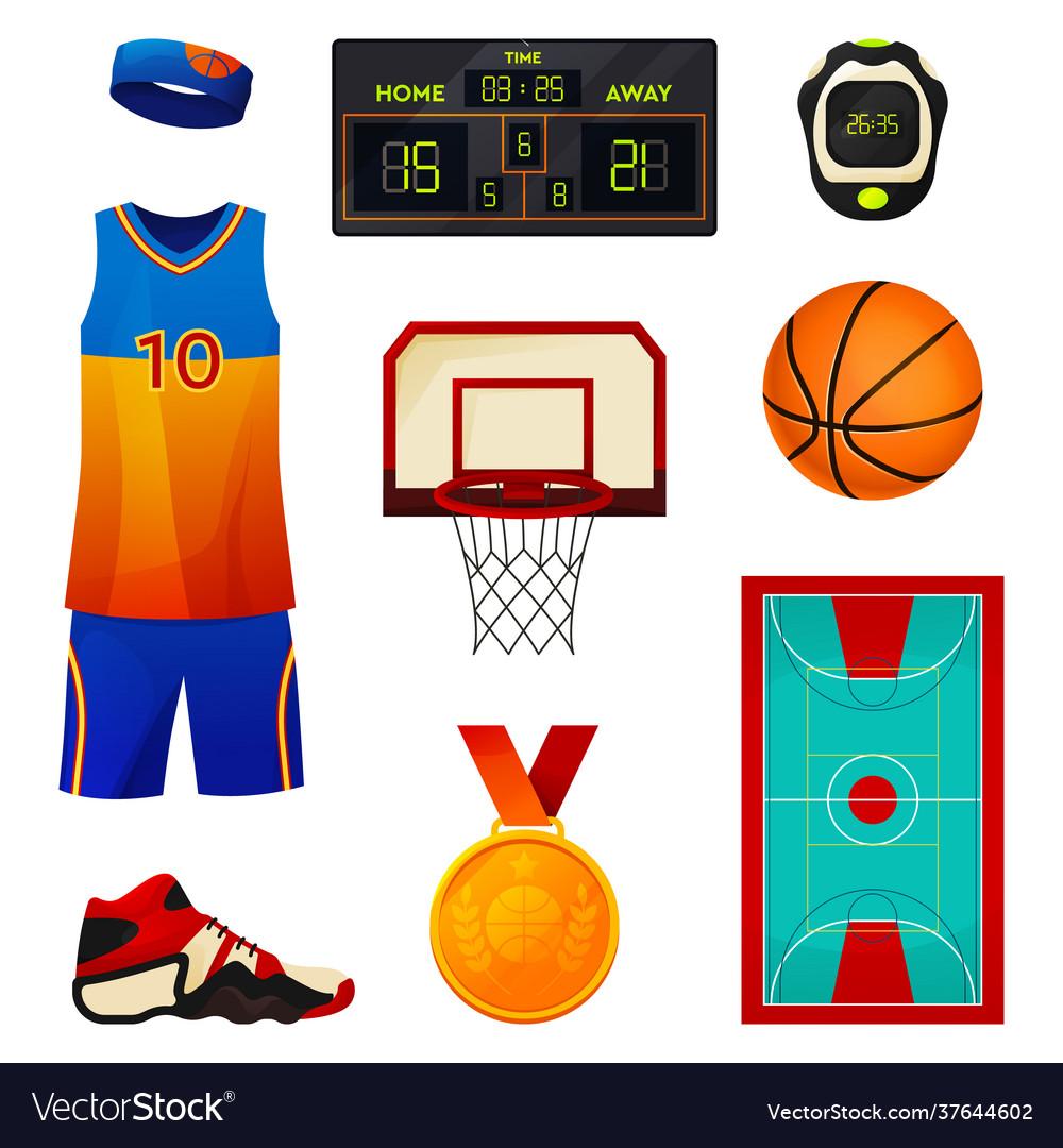 Set basketball equipment sport icons