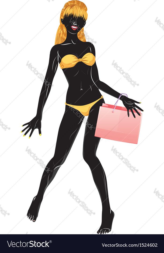 Silhouette of shopping blond girl in bikini