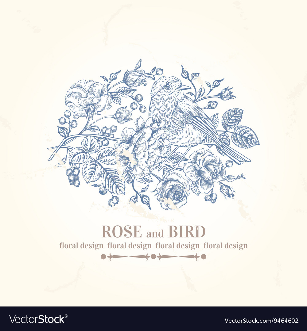 Vintage wedding card with bird roses and berries