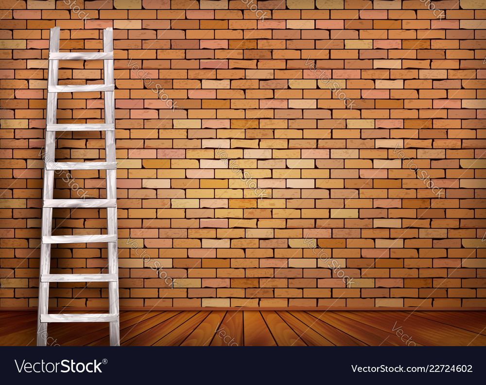 White ladder against and old a red brick wall