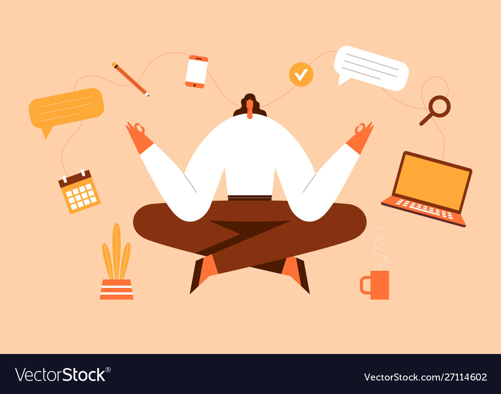 Woman sitting in yoga pose office work and stress