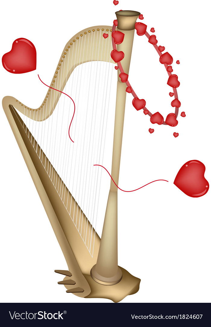 A Beautiful Golden Harp Playing Love Song vector image