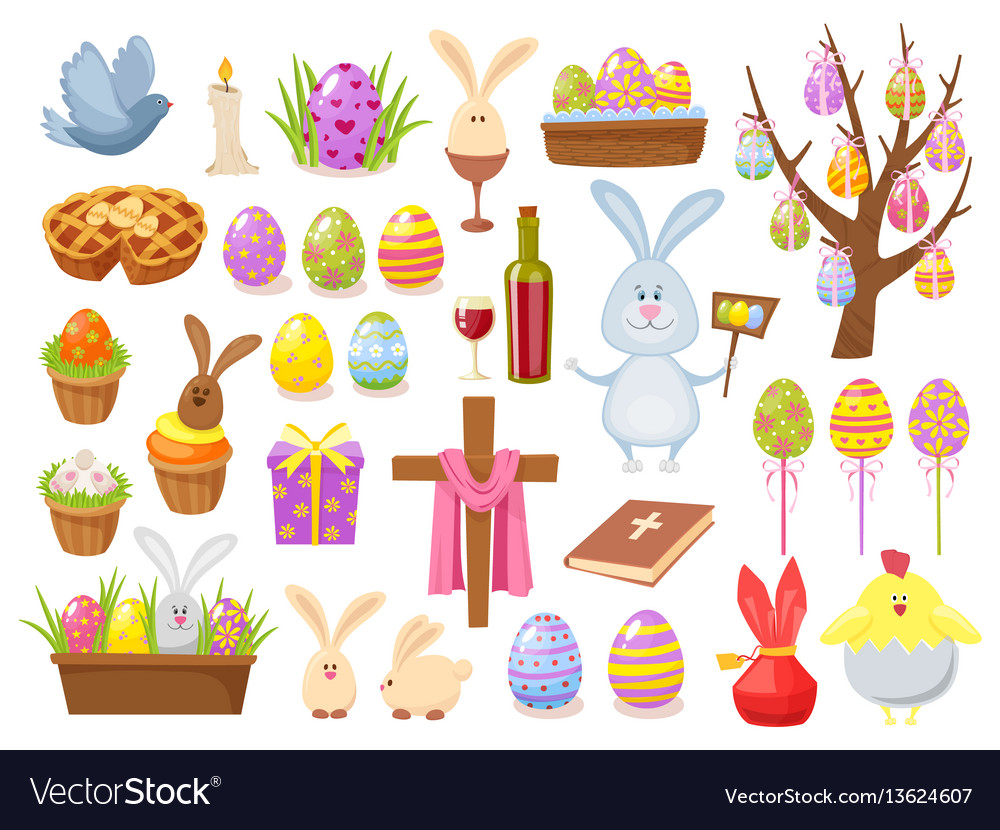 Big collection of happy easter objects flat