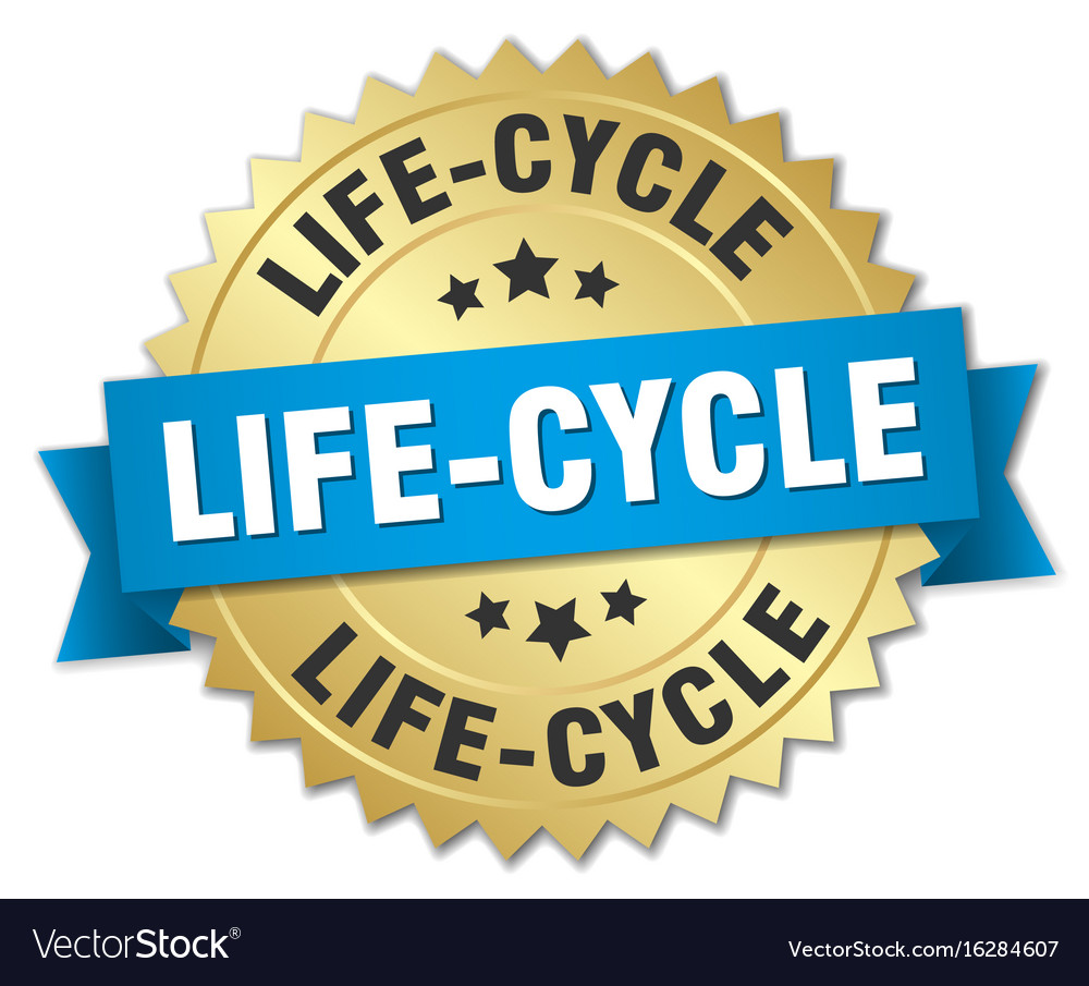Life-cycle round isolated gold badge