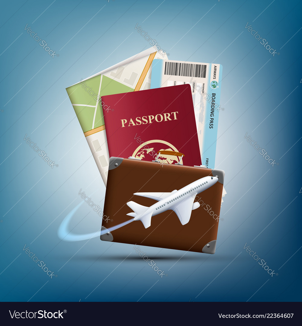 Passport with ticket and map