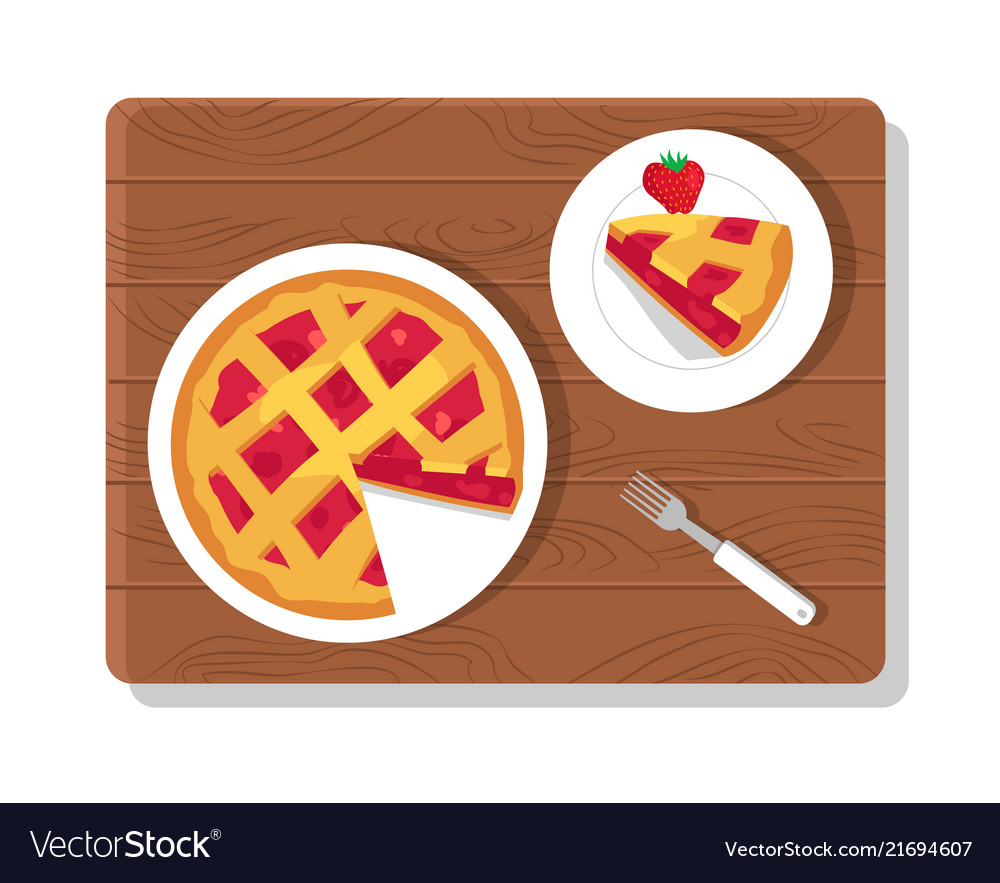 Pie and plate on wooden board