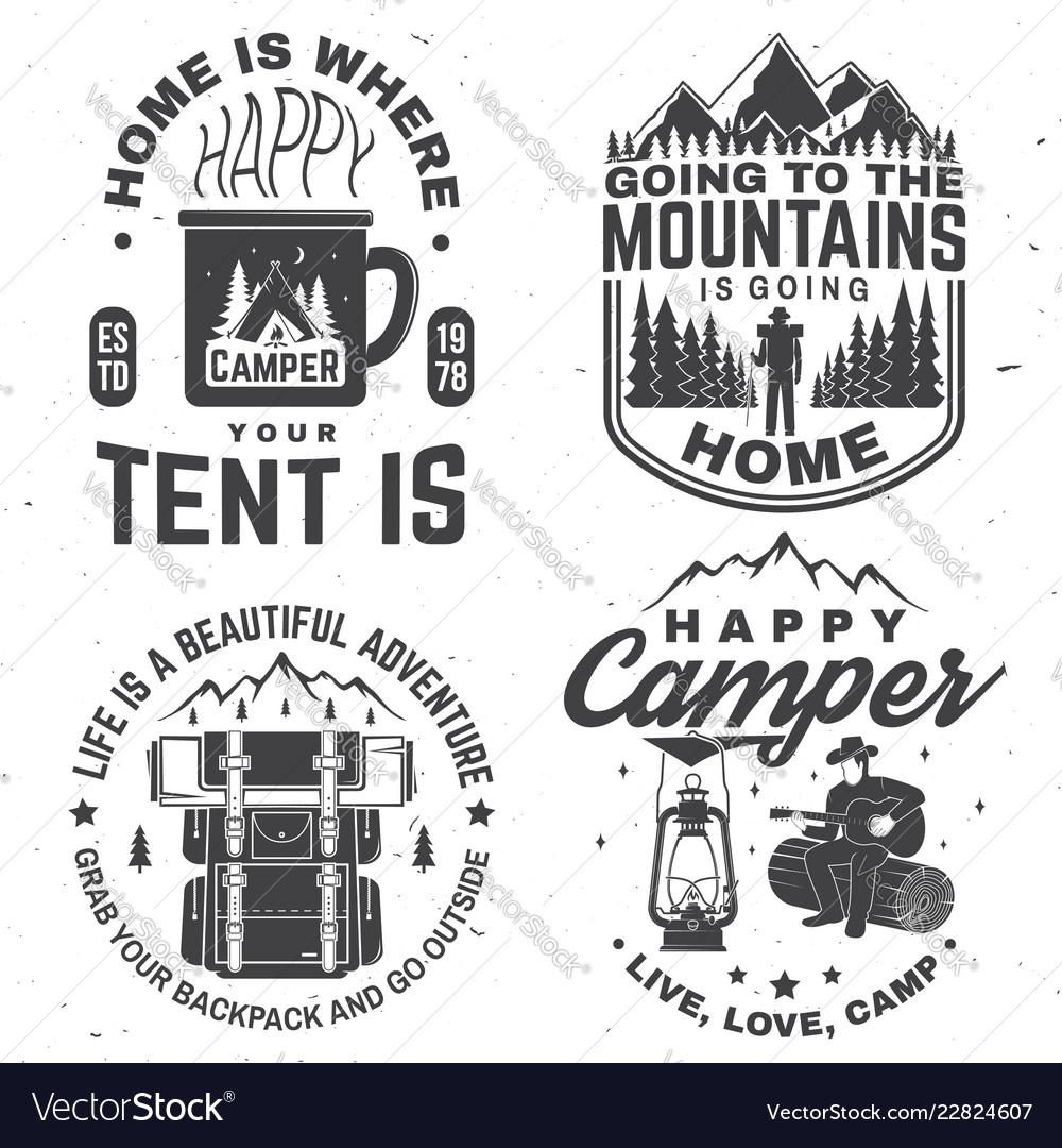 Set of happy camper outdoor adventure symbol