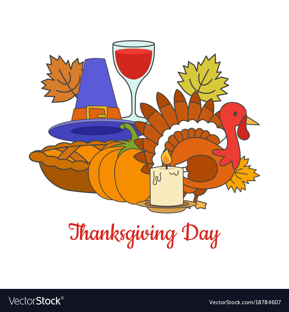 Thanksgiving day greeting postcard vector image