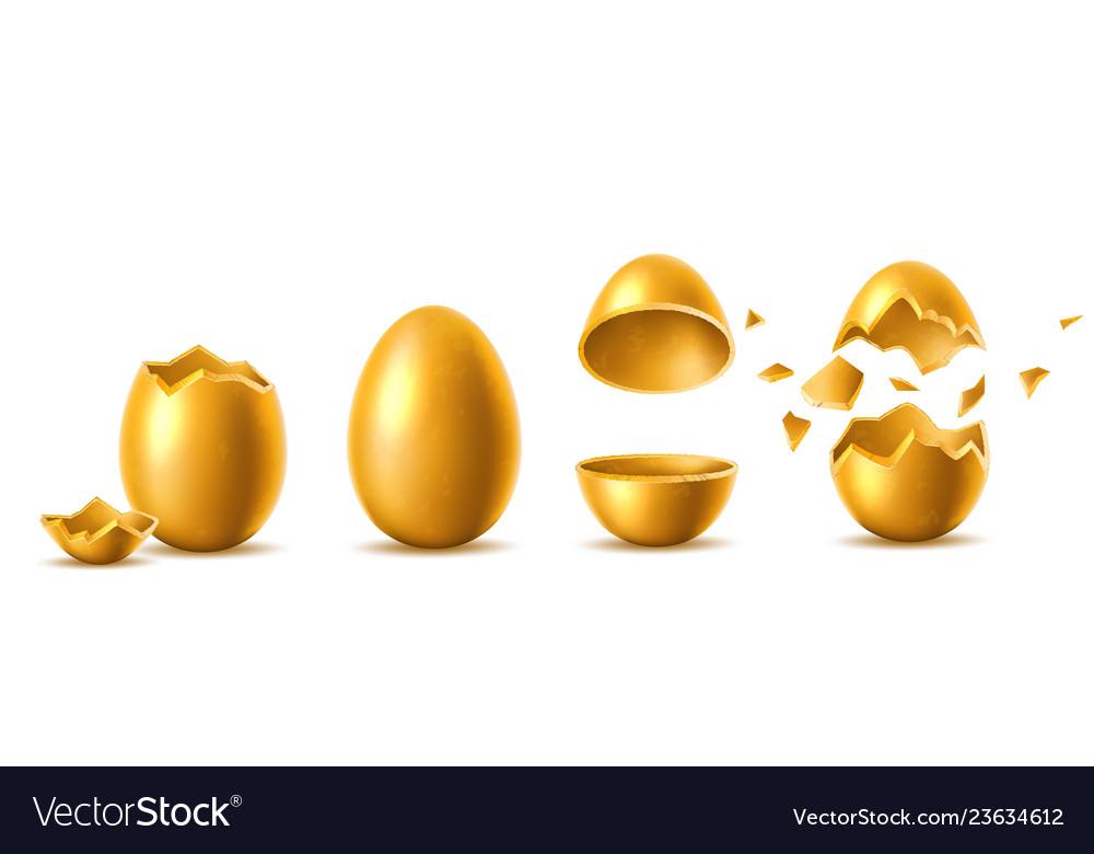 3d golden eggs with broken eggshell set