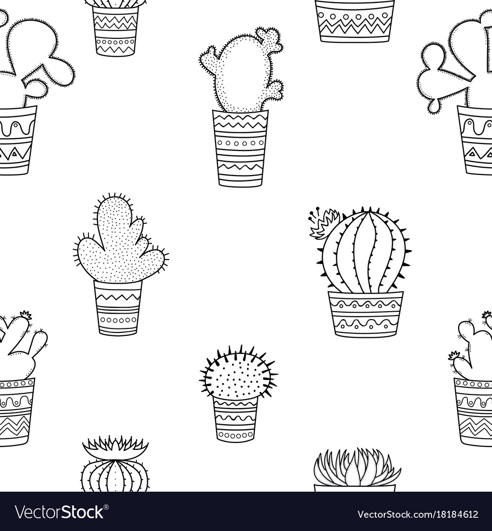 A seamless pattern of black-and-white cactuses