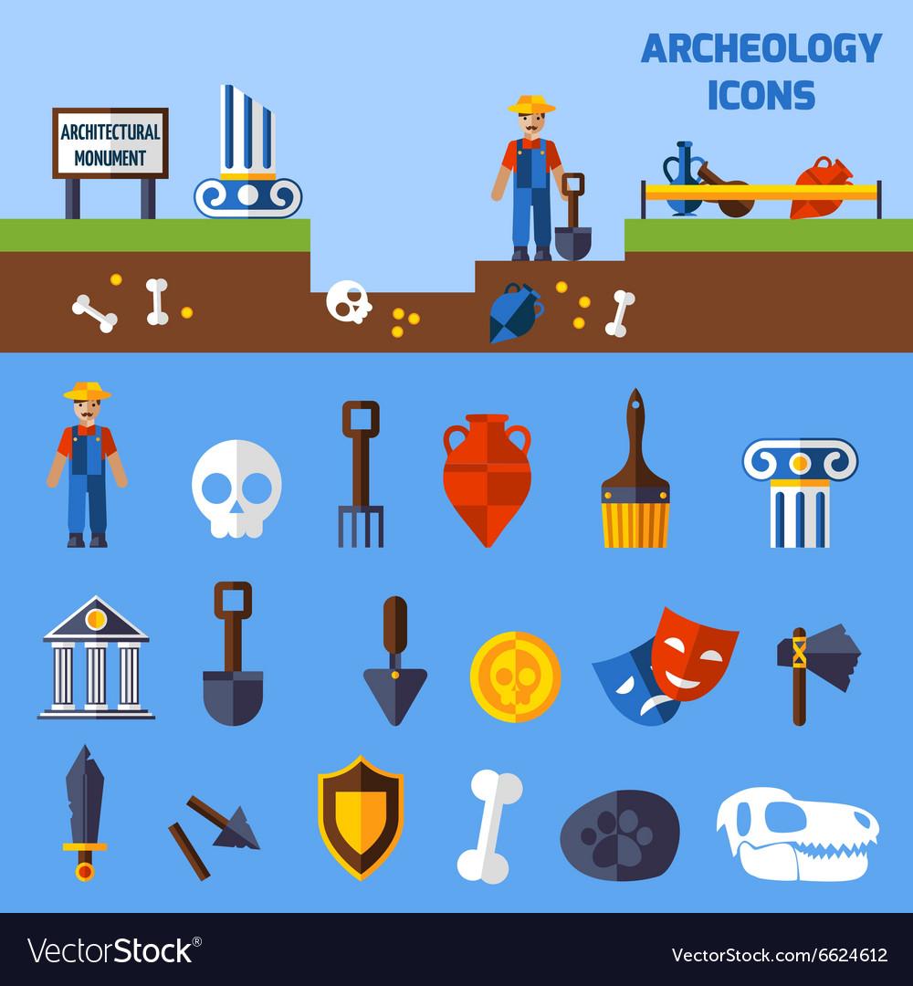 Archeology Icons Set