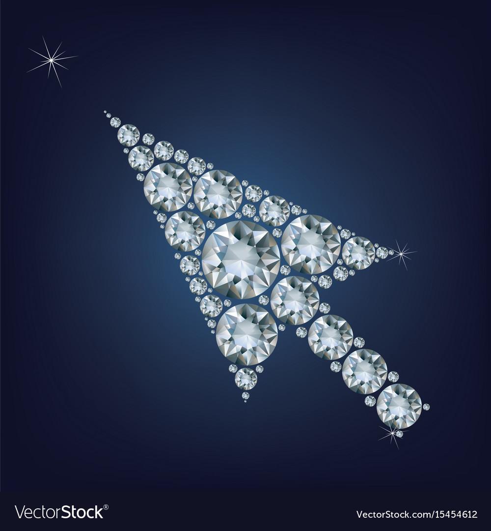 Arrow cursor shape made up a lot of diamonds vector image