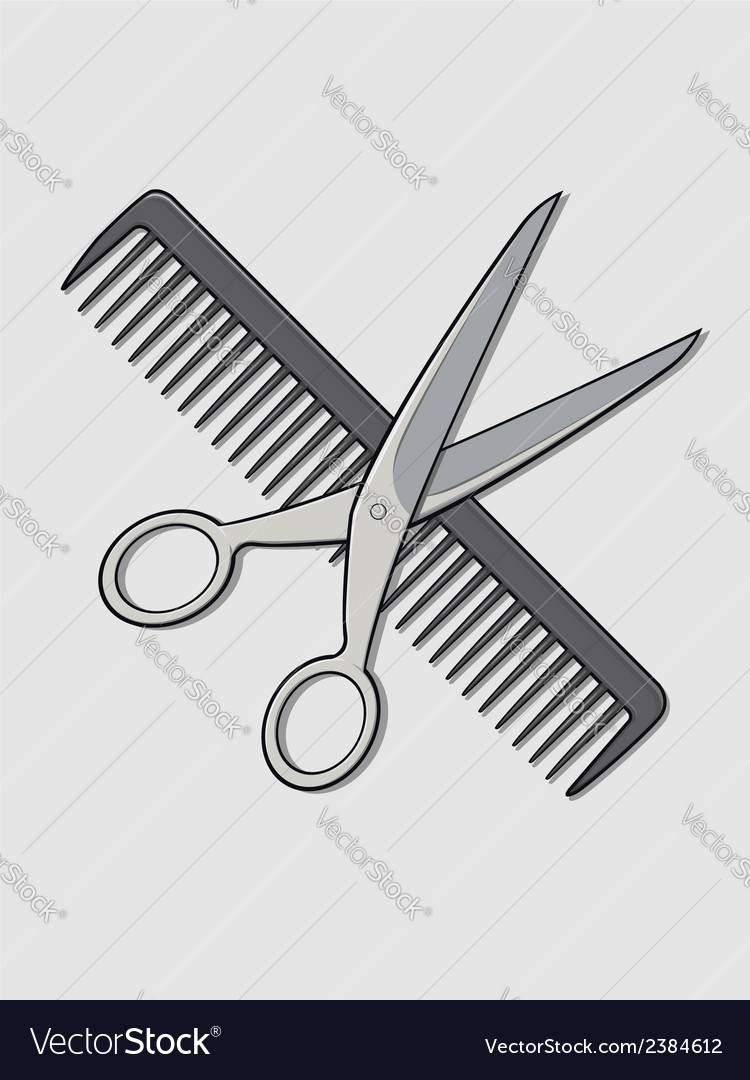 barber scissor and comb royalty free vector image