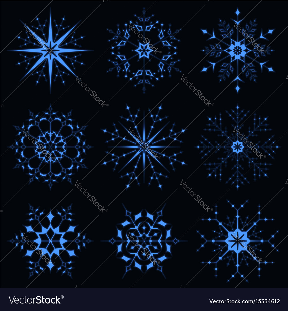 Blue sparkling snowflake vector image