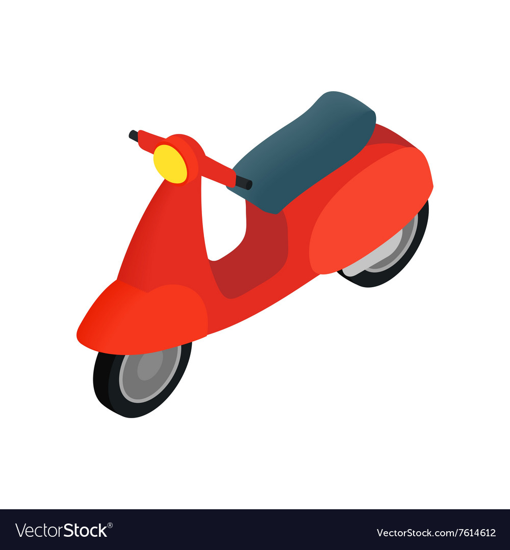 Classic Vespa scooter icon isometric 3d style