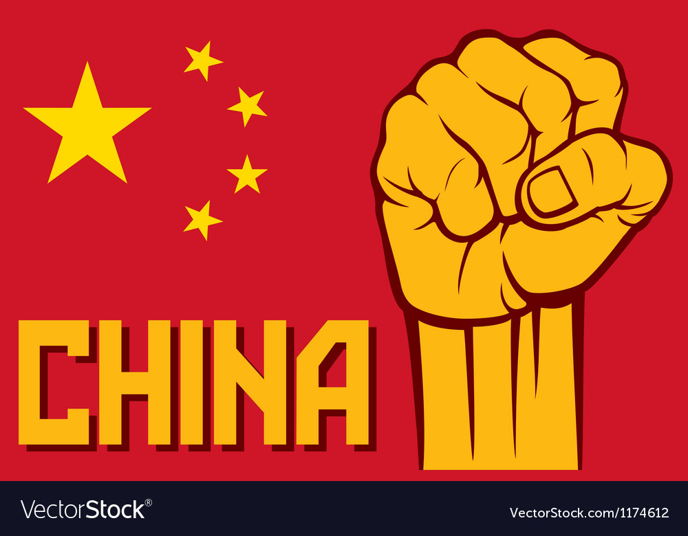 Flag of China with fist