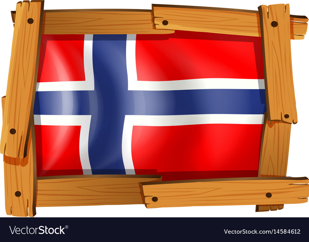 Flag of norway in wooden frame vector image