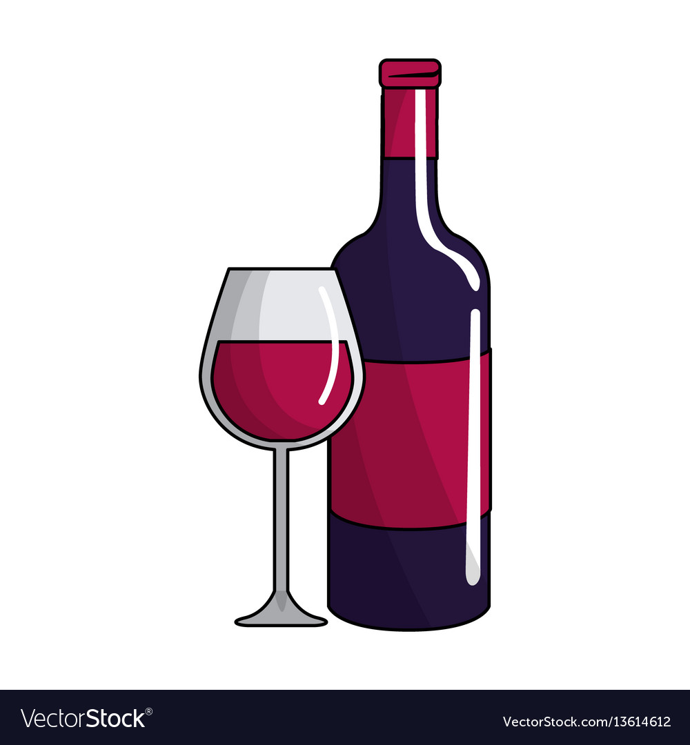 Glass and bottle of wine icon vector image
