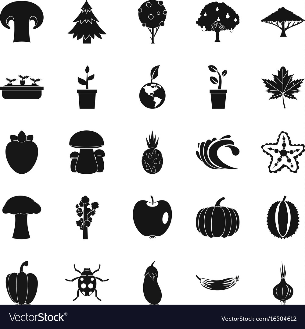 Greengrocery icons set simple style
