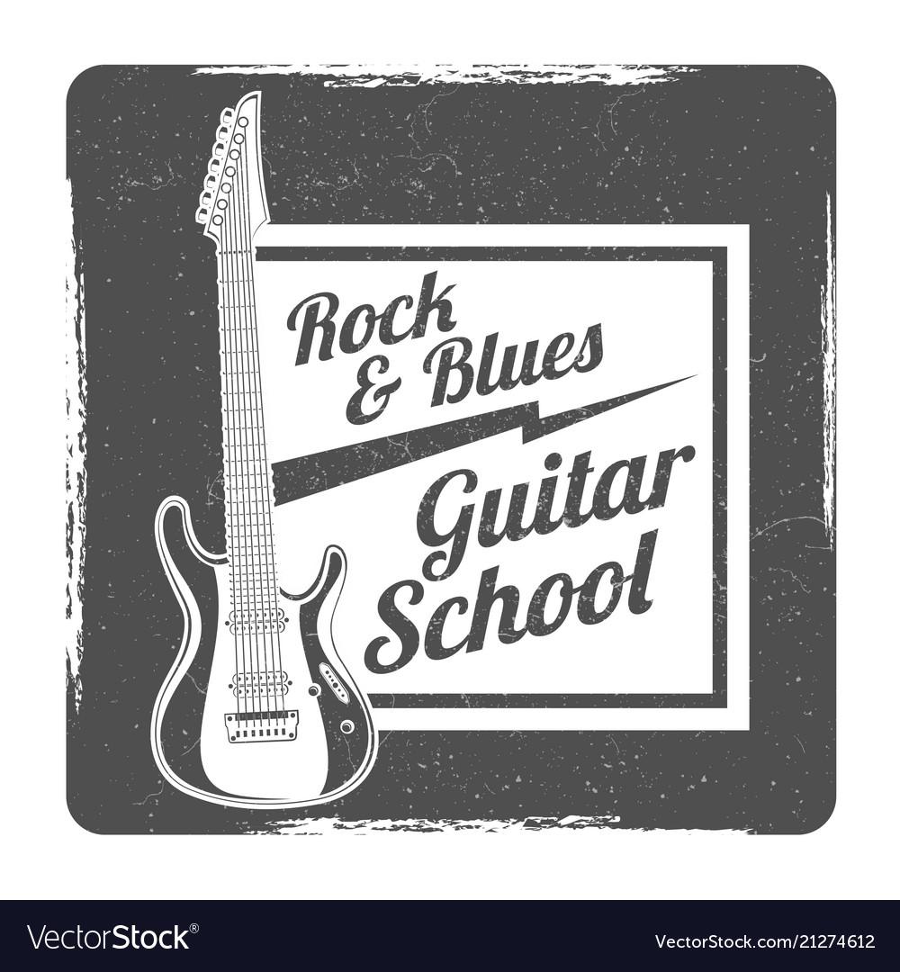 Guitar school grunge logo design