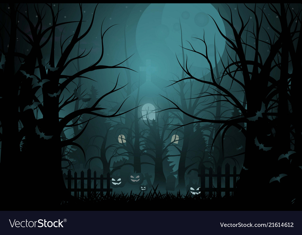 happy halloween background and scary tree pumpkin vector image