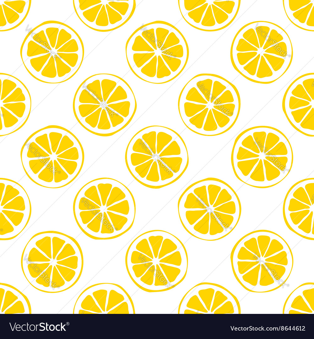 Lemon seamless pattern white background