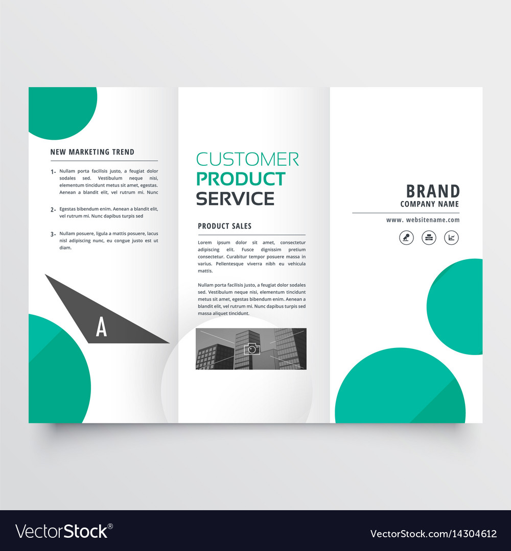 modern green dots trifold brochure design vector image
