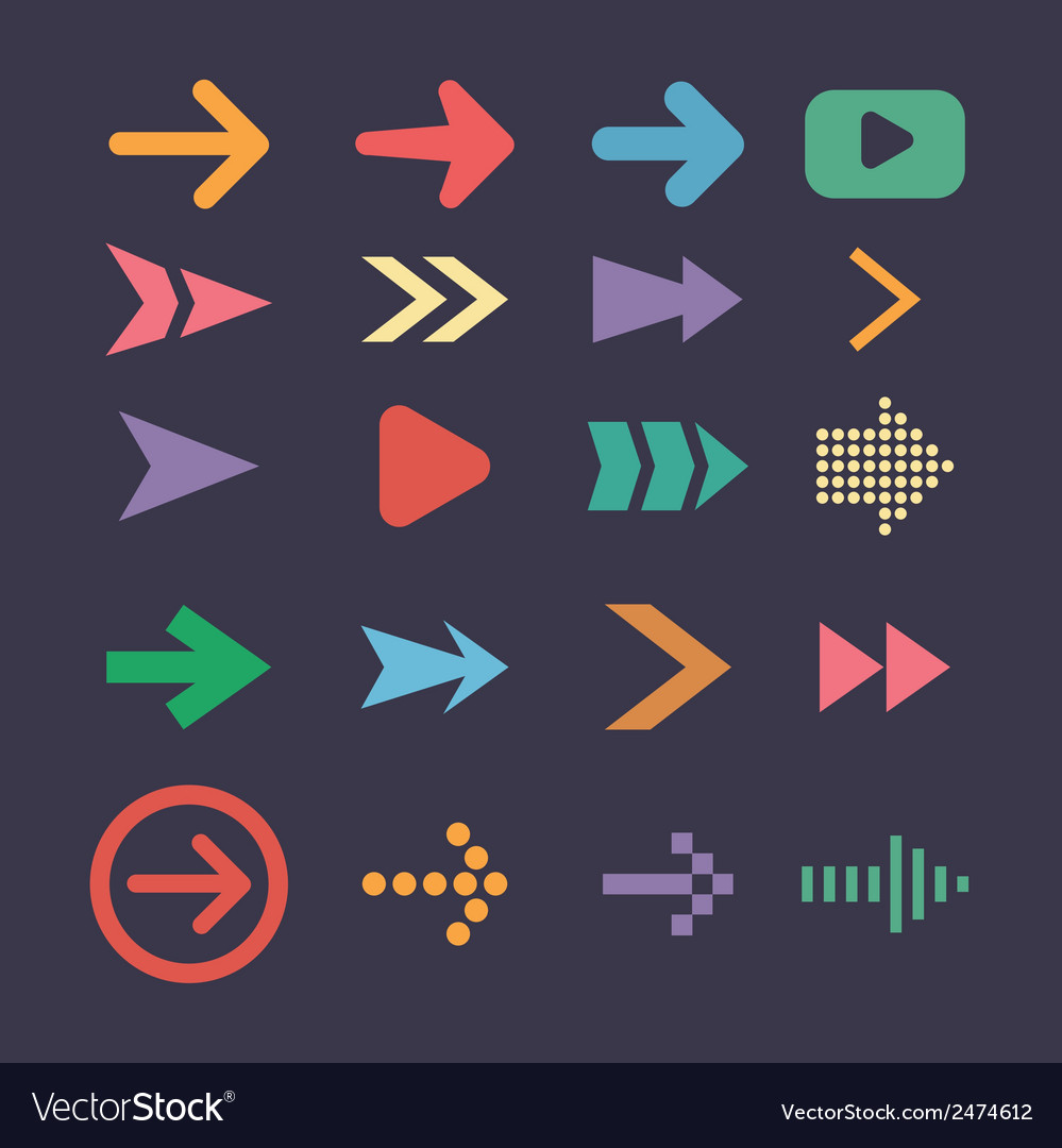 Set arrow icons flat UI design trend